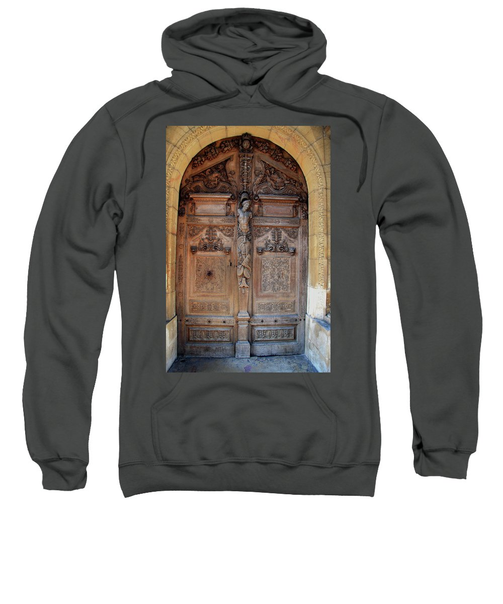 Door Sweatshirt featuring the photograph Old Carved Church Door by Christiane Schulze Art And Photography