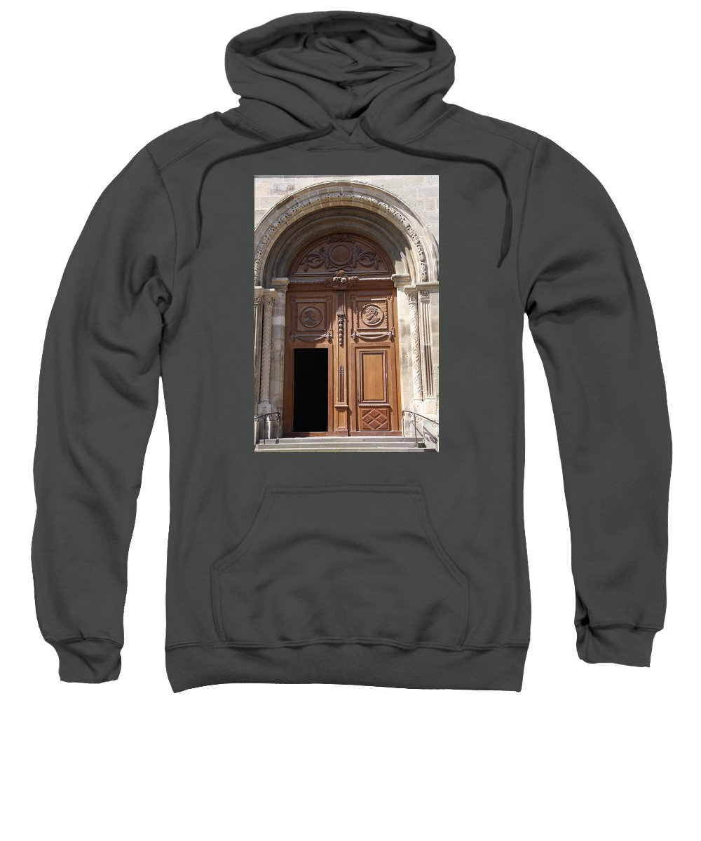 Door Sweatshirt featuring the photograph Old Church Door Cathedral Autun by Christiane Schulze Art And Photography