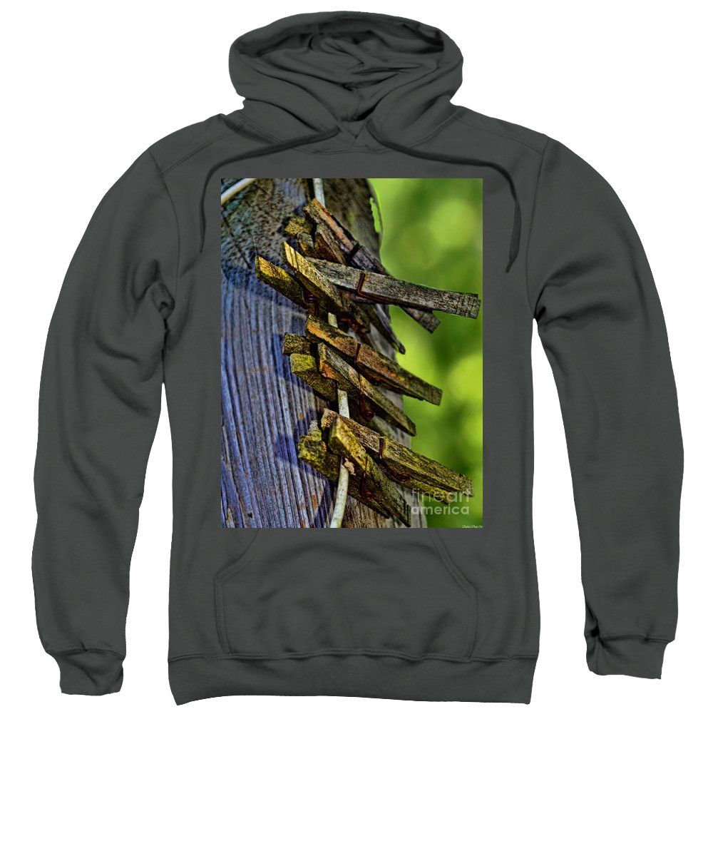 Rustic Sweatshirt featuring the photograph Old Clothes Pins I by Debbie Portwood