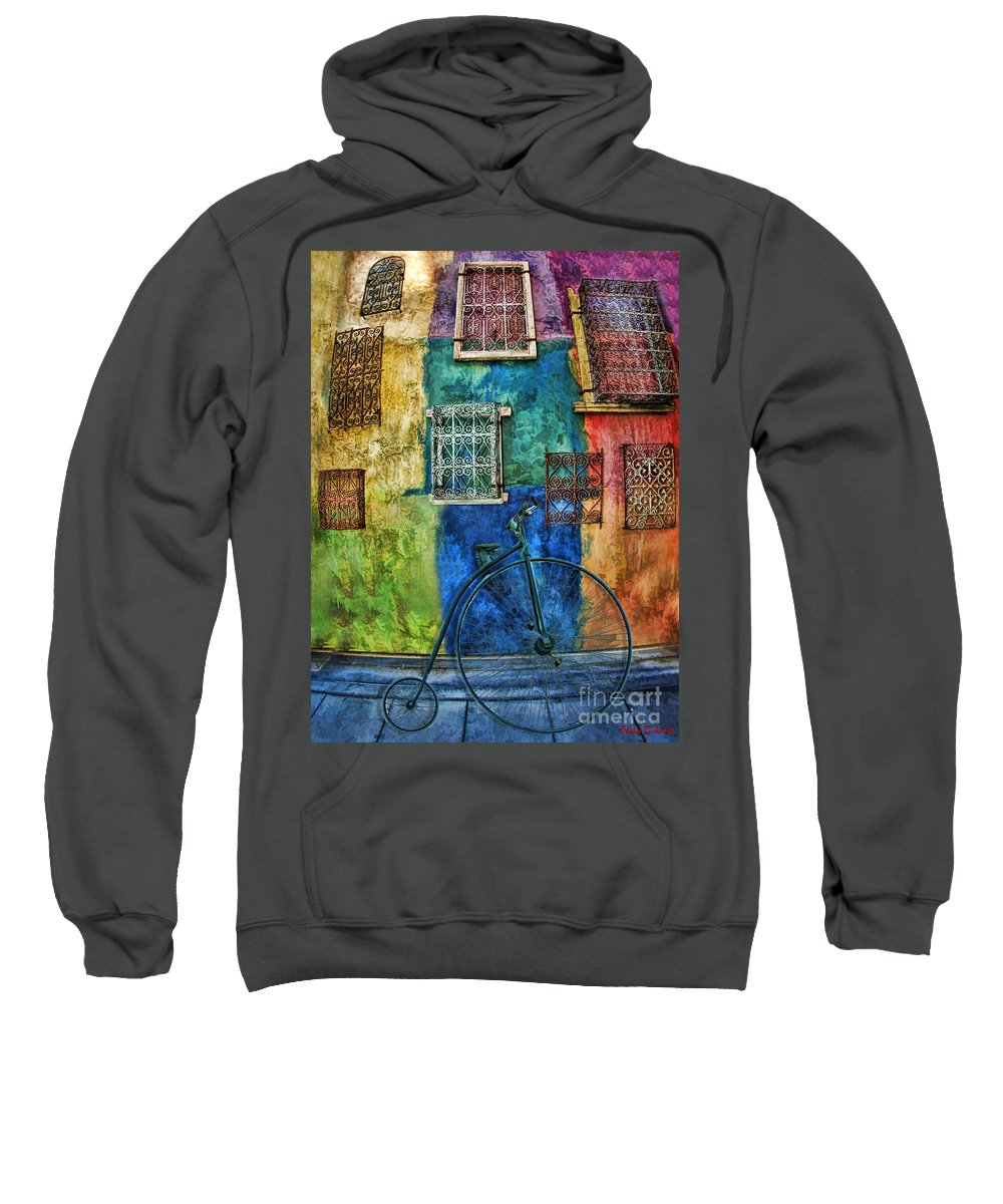 Old Bike's Sweatshirt featuring the photograph Old Fashion Bike And Blue Wall by Blake Richards