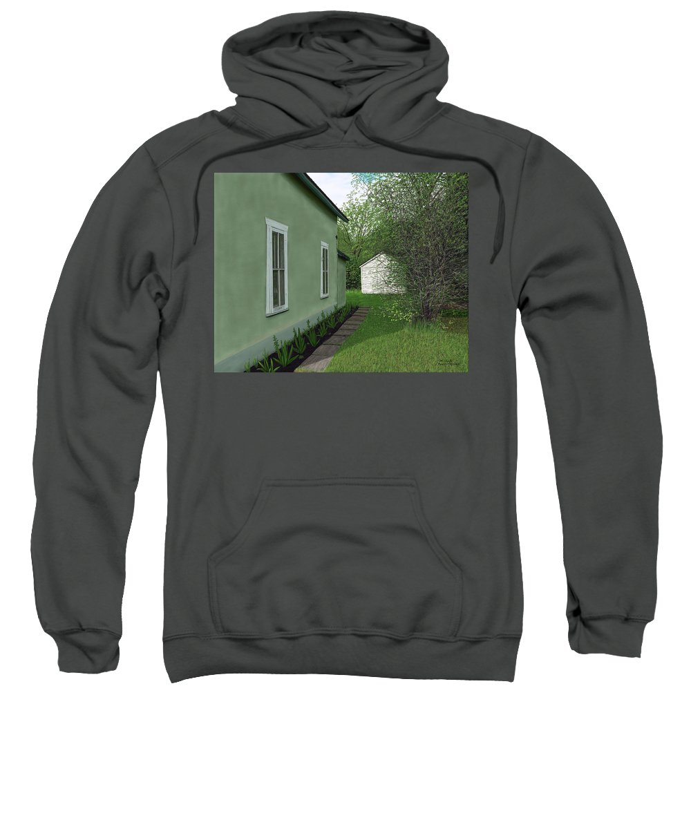 Old Sweatshirt featuring the painting Old Green House by Michelle Moroz-Chymy