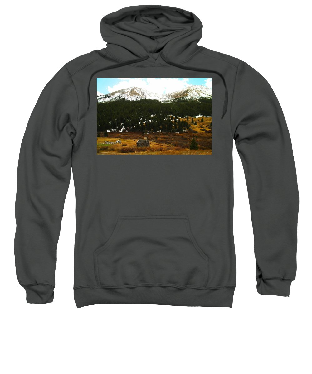 Old Houses Sweatshirt featuring the photograph Old Homestead In The Colorado Mountains by Jeff Swan