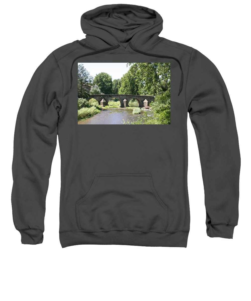 Stone Arch Bridge Sweatshirt featuring the photograph Old Stone Arch Bridge by Christiane Schulze Art And Photography