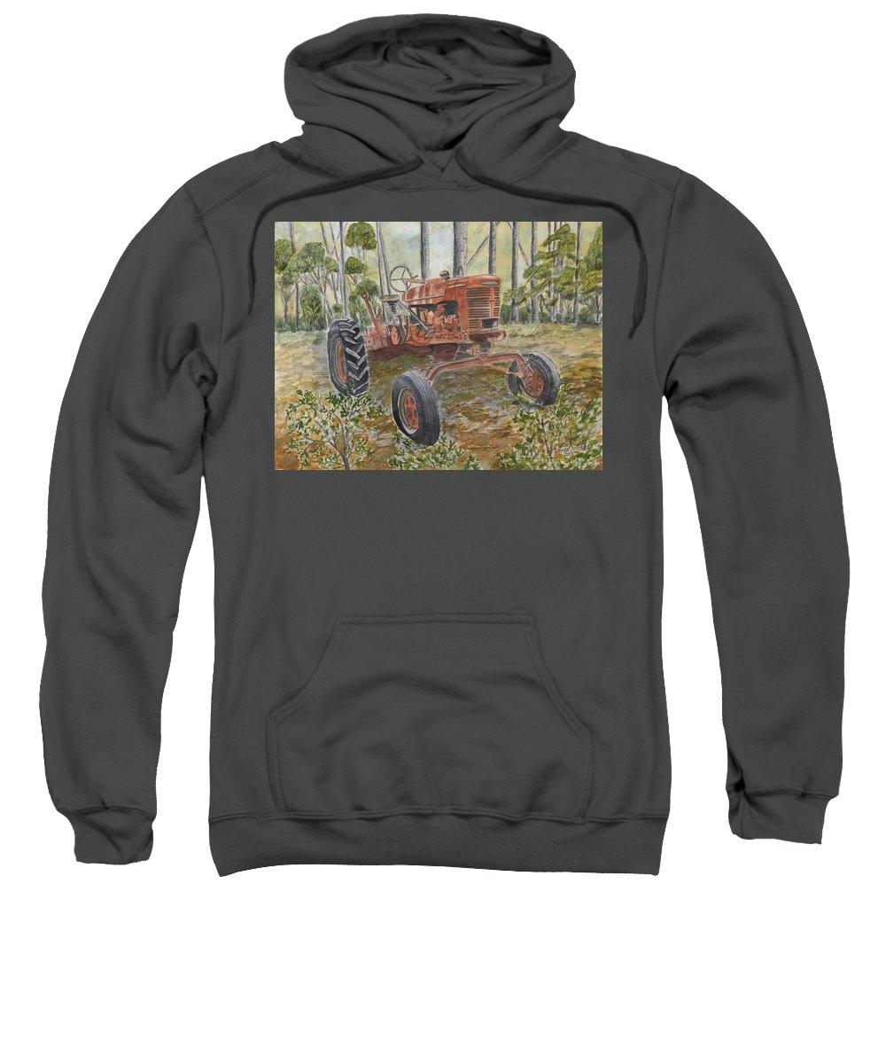 Old Sweatshirt featuring the painting Old Tractor Vintage Art by Derek Mccrea