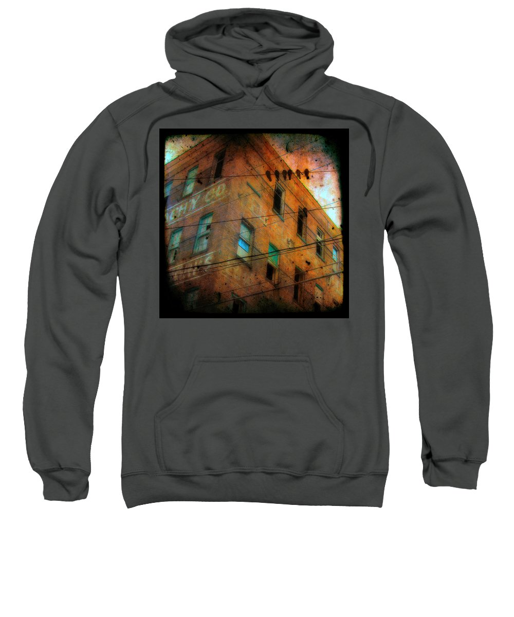 Abandoned Sweatshirt featuring the photograph Old Wires by Gothicrow Images