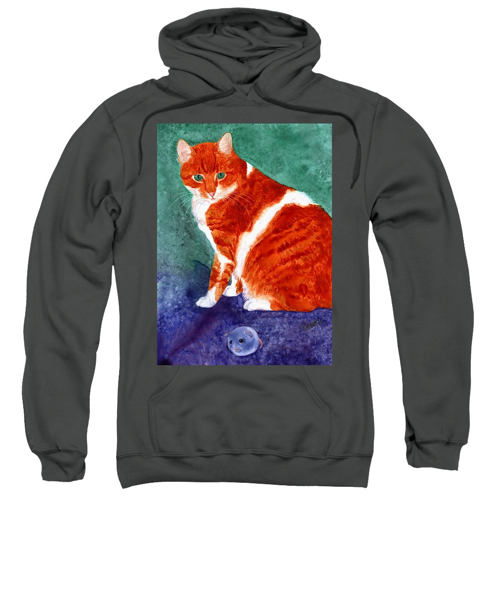 Cat Sweatshirt featuring the painting Oliver by Ann Ranlett