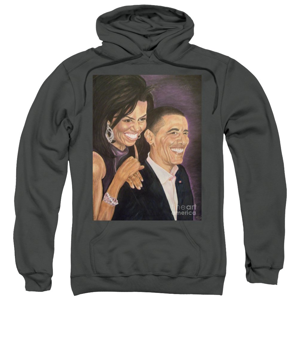 Portraits Sweatshirt featuring the painting Ombience Of Love The Obama by Arron Kirkwood