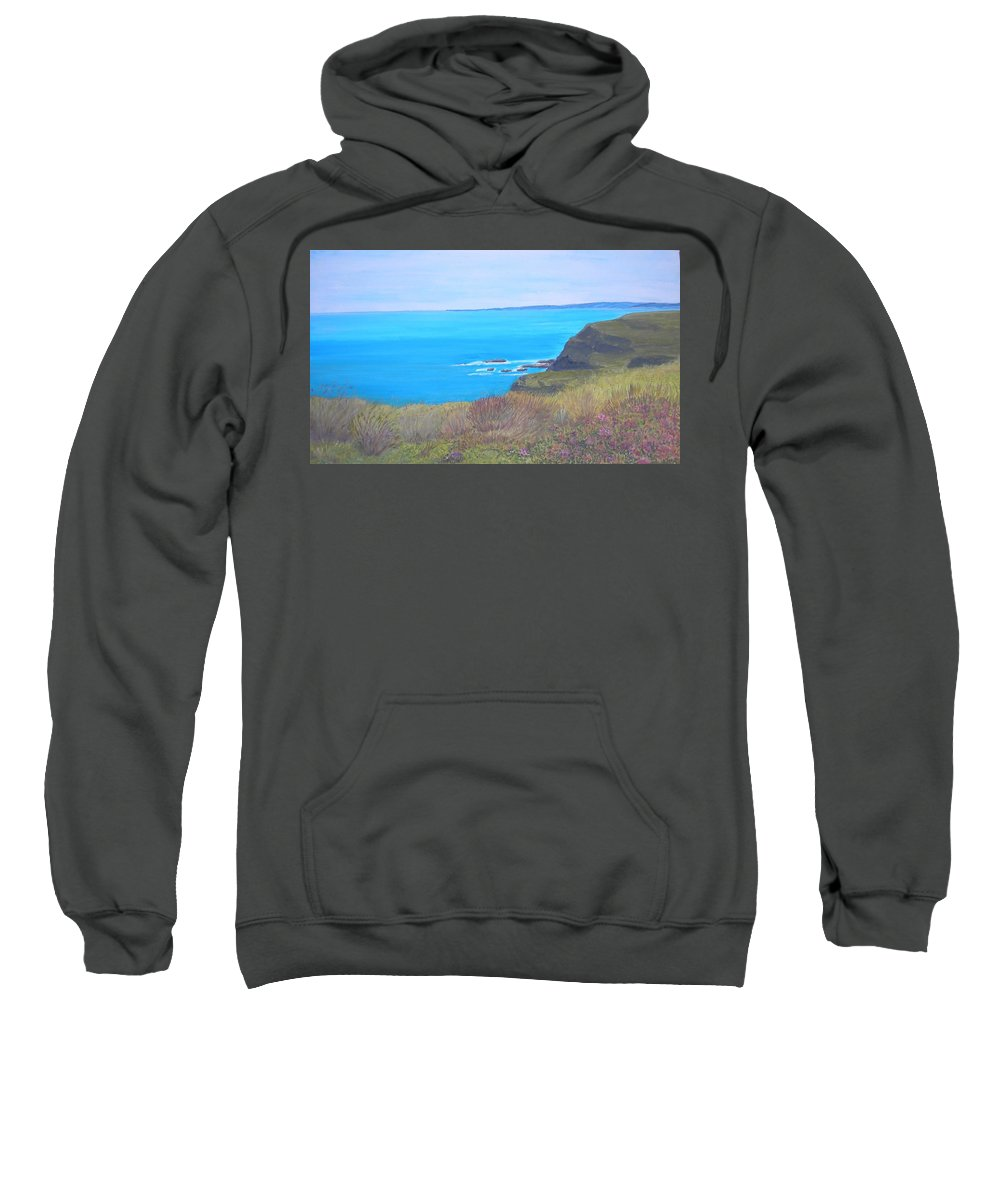 Seascape Sweatshirt featuring the painting On The Dunes Perranporth by Janet Davies
