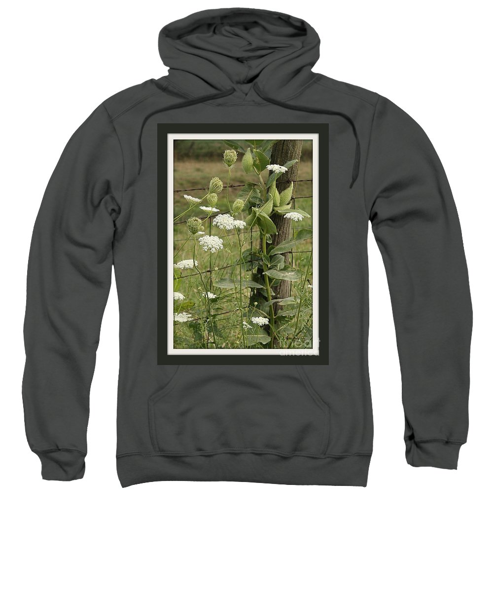 Flowers On The Fence Sweatshirt featuring the photograph On The Fence by Brenda McGee-Paap