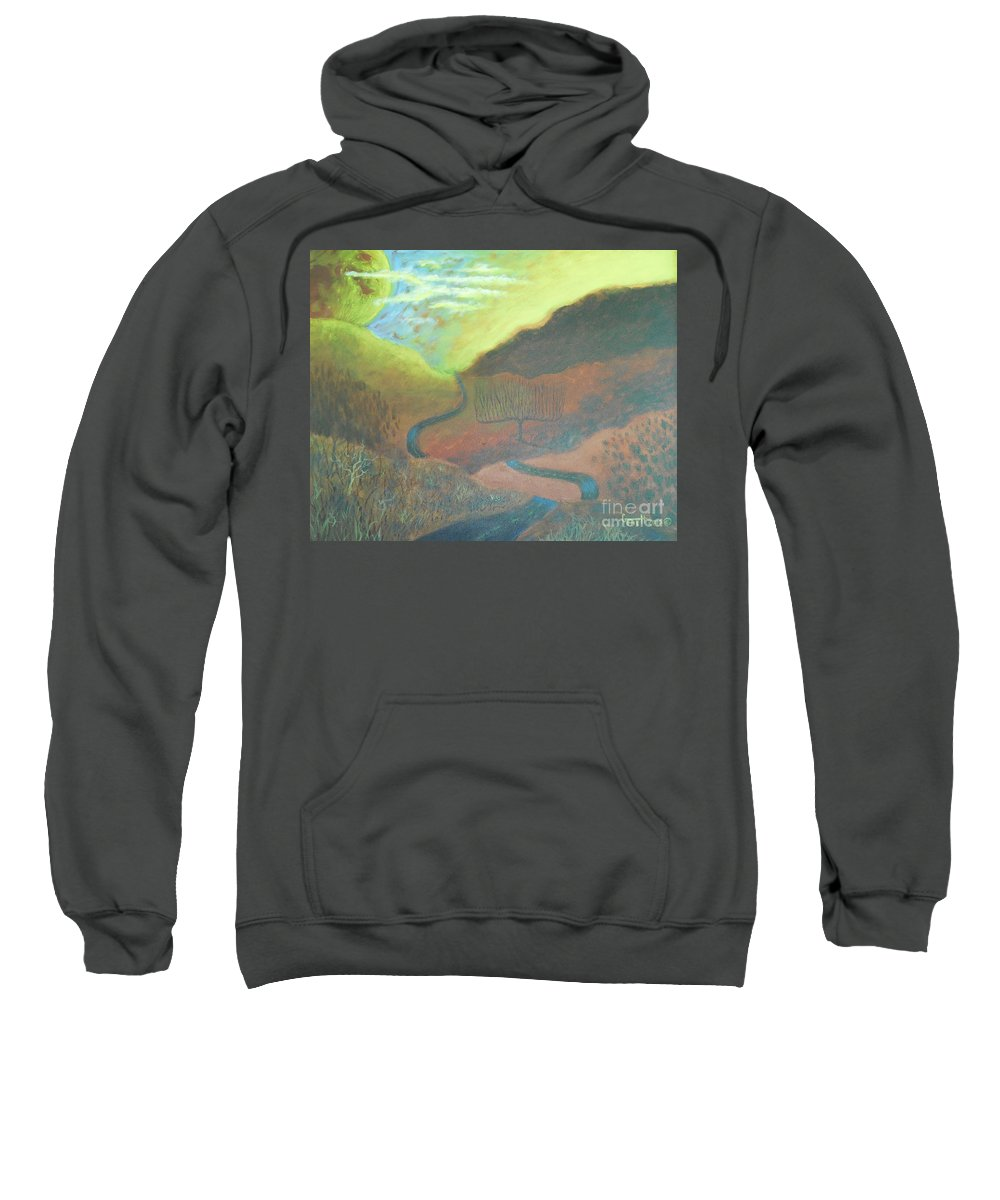 Road Sweatshirt featuring the painting On The Road Again by Gene Huebner