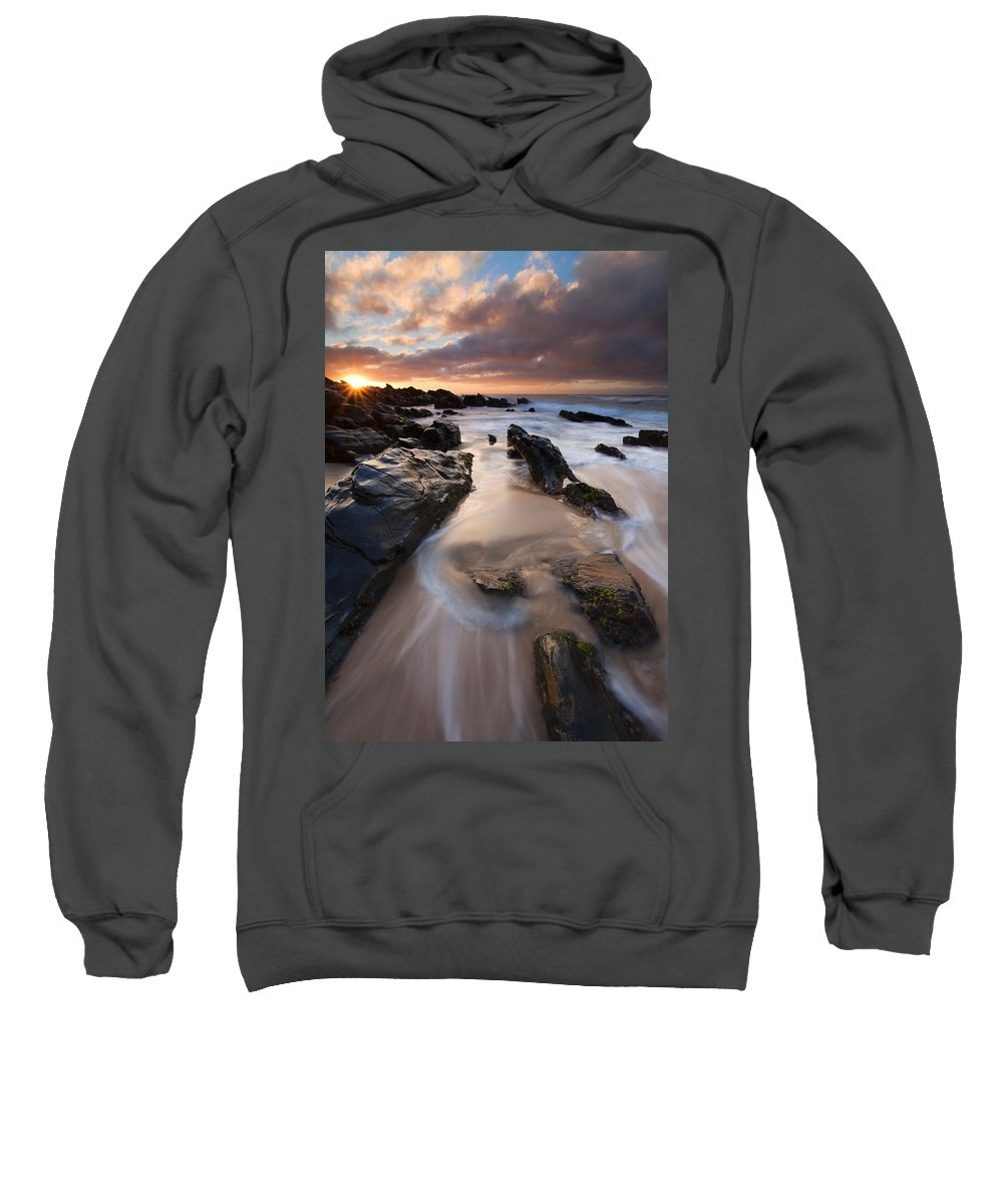 Basham Beach Sweatshirt featuring the photograph On The Rocks by Mike Dawson