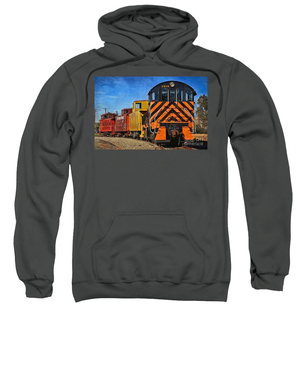 Train Sweatshirt featuring the photograph On The Tracks by Peggy Hughes
