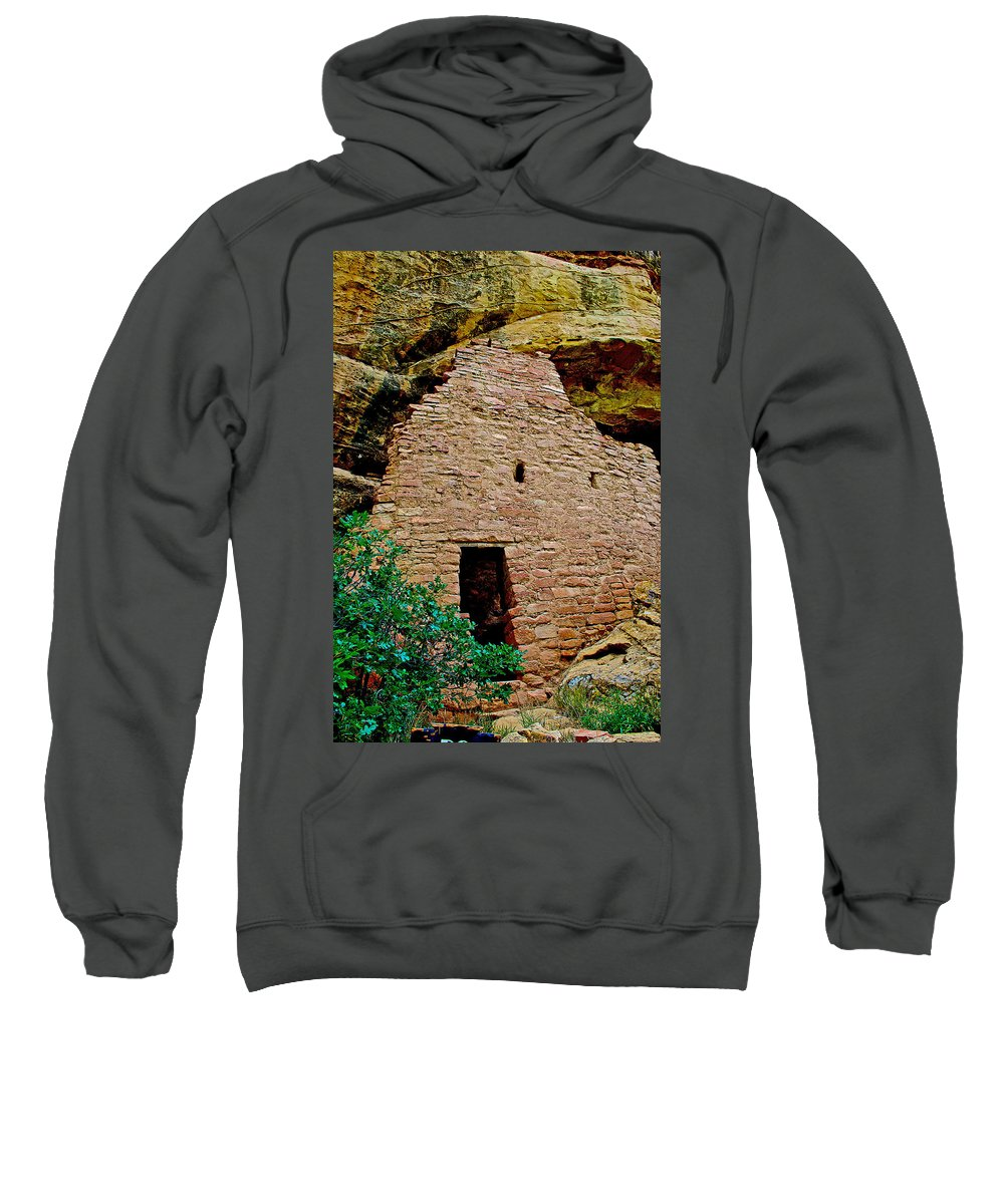 One Entry To Spruce Tree House On Chapin Mesa In Mesa Verde National Park-colorado Spruce Tree House On Chapin Mesa In Mesa Verde National Park Sweatshirt featuring the photograph One Entry To Spruce Tree House On Chapin Mesa In Mesa Verde National Park-colorado by Ruth Hager