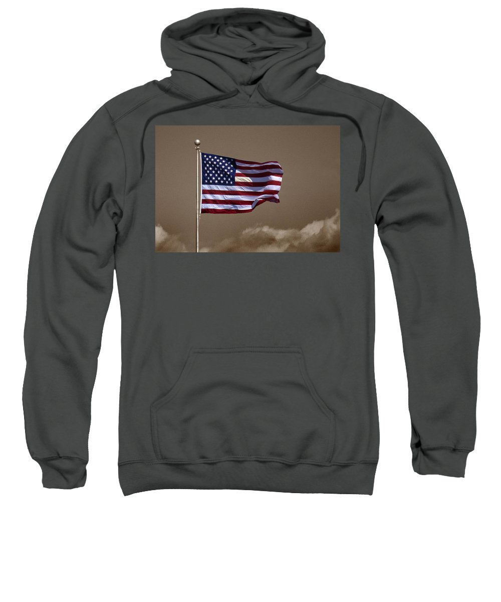 Flag Sweatshirt featuring the photograph One Nation Under God by Skip Willits