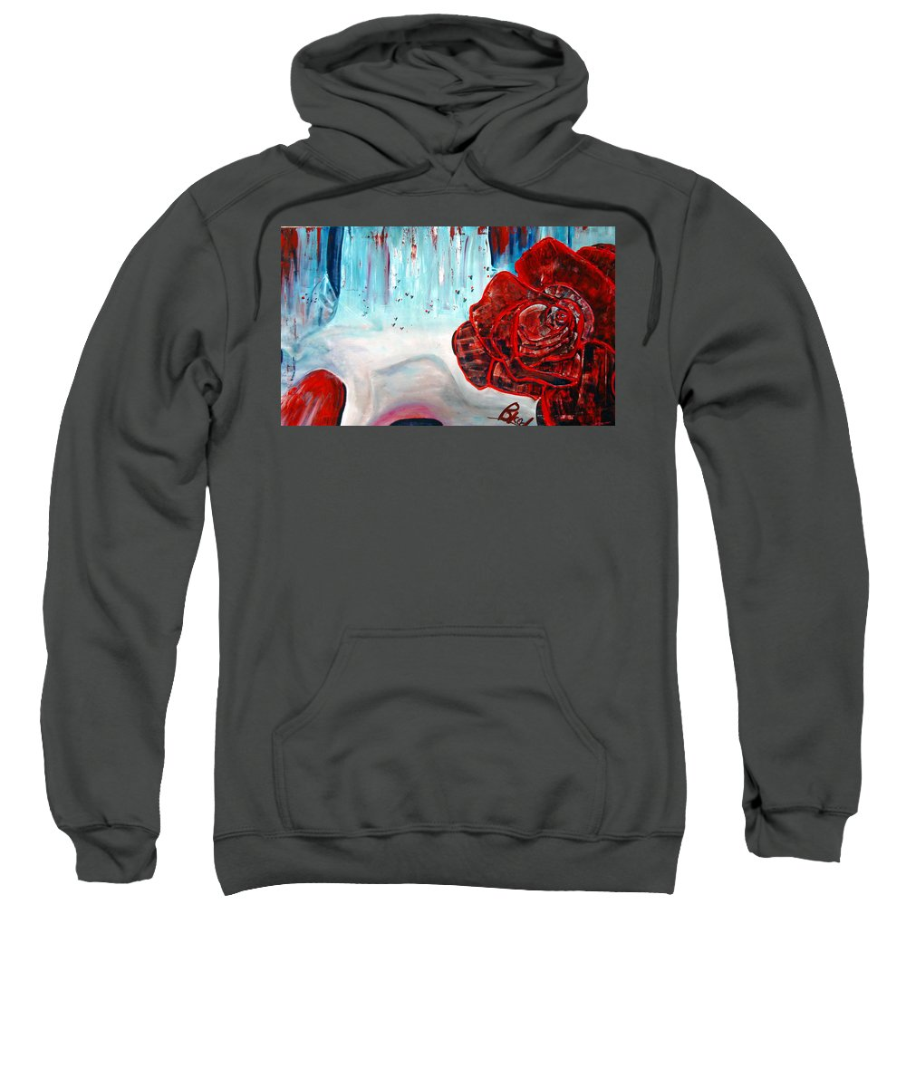 Landscape Sweatshirt featuring the painting Op And Rose by Peggy Blood