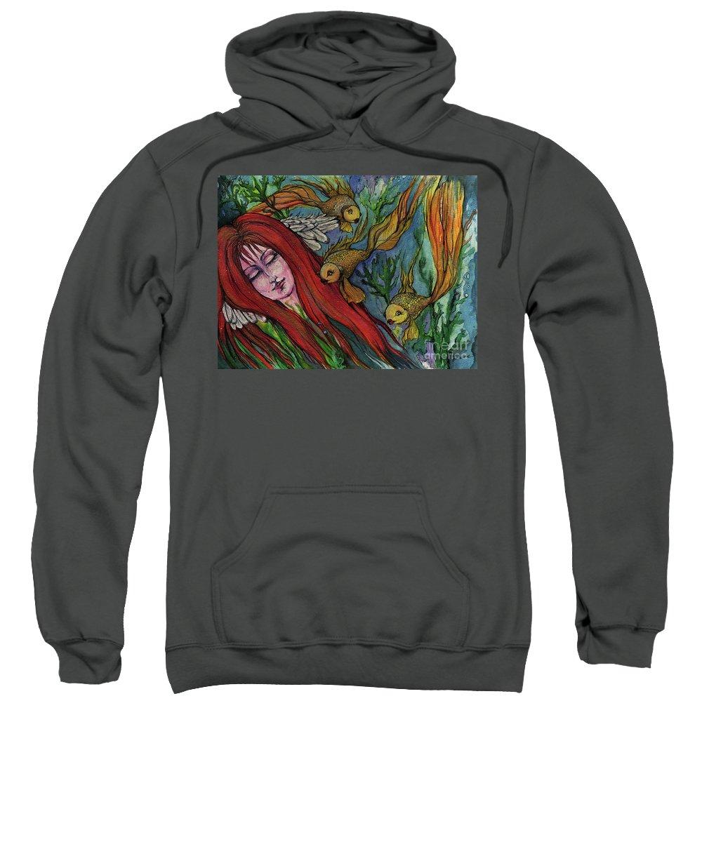 Siren Sweatshirt featuring the painting Ophelia by Angel Ciesniarska