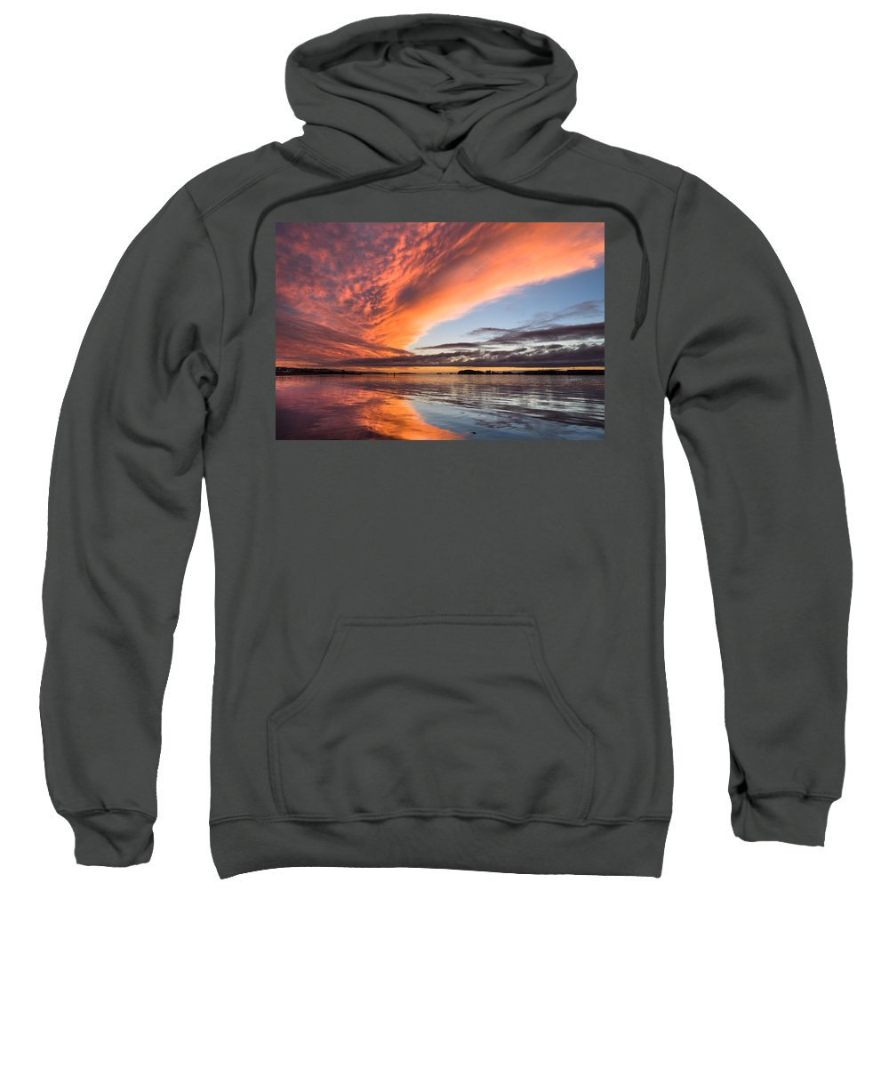 Dramatic Sky Sweatshirt featuring the photograph Orange Clouds Over Humboldt Bay by Greg Nyquist