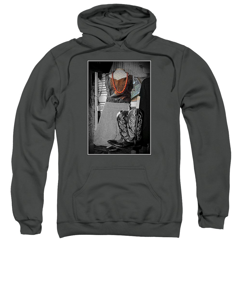 Vintage Sweatshirt featuring the photograph Vintage Orange Necklace by Kathy Barney