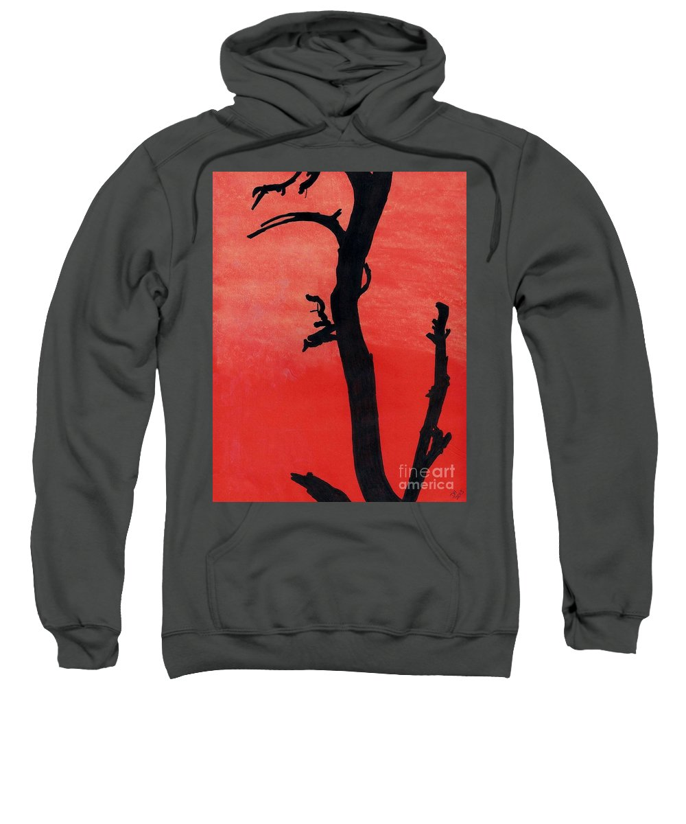 Sunset Sweatshirt featuring the drawing Orange Sunset Silhouette Tree by D Hackett