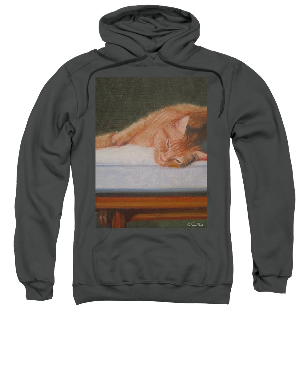 Animals Sweatshirt featuring the painting Orange Tabby Cat by Sarah Parks