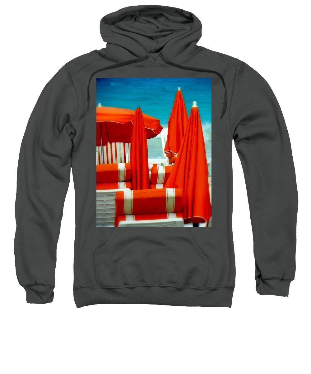 Umbrellas Sweatshirt featuring the photograph Orange Umbrellas by Karen Wiles