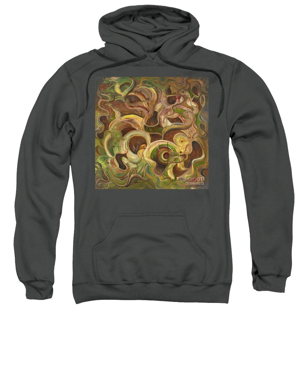 Organic Sweatshirt featuring the painting Organic Life by Nadine Rippelmeyer