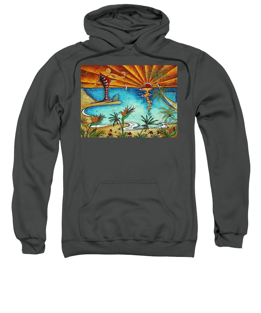 Abstract Sweatshirt featuring the painting Original Coastal Surfing Whimsical Fun Painting Tropical Serenity By Madart by Megan Duncanson