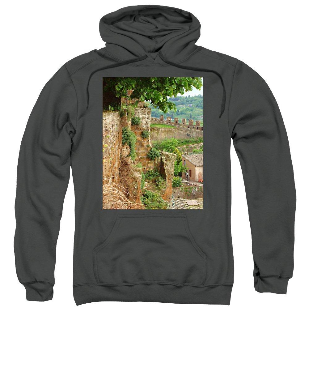 Orvieto Battlement Sweatshirt featuring the photograph Orvieto Battlement by Ellen Henneke