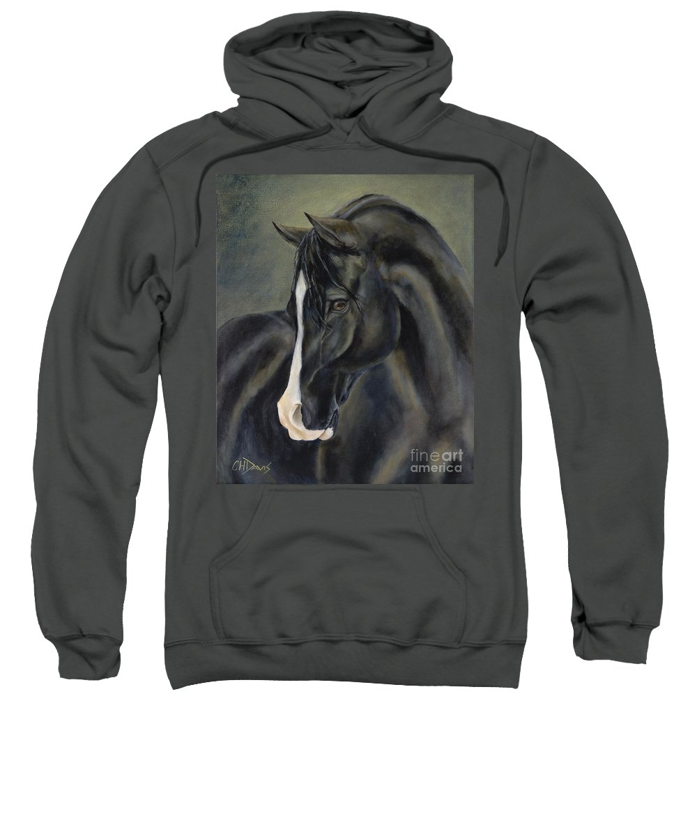 Black Sweatshirt featuring the painting Ossie by Catherine Davis