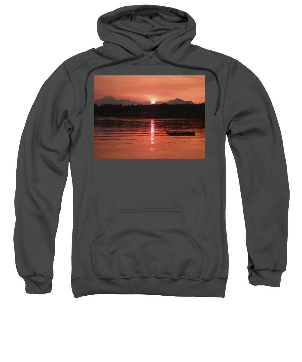 Peachy Sweatshirt featuring the photograph Our Beach At Sunset by Kym Backland