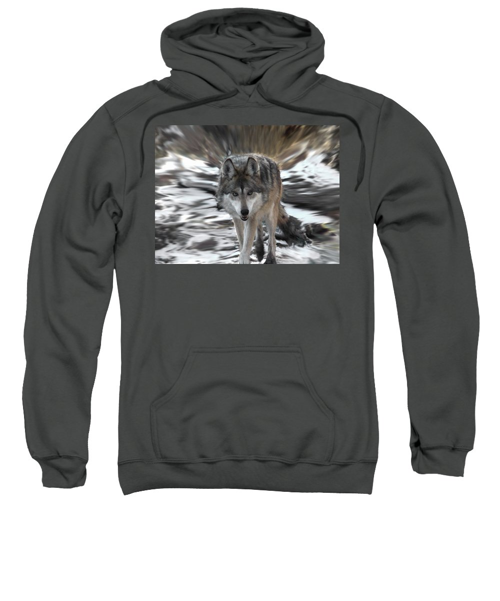 Wolf Sweatshirt featuring the digital art Out Of Nowhere by Ernie Echols