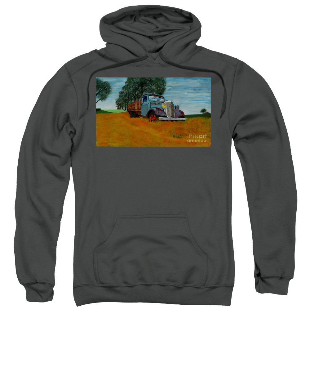 Truck Sweatshirt featuring the painting Out To Pasture by Anthony Dunphy