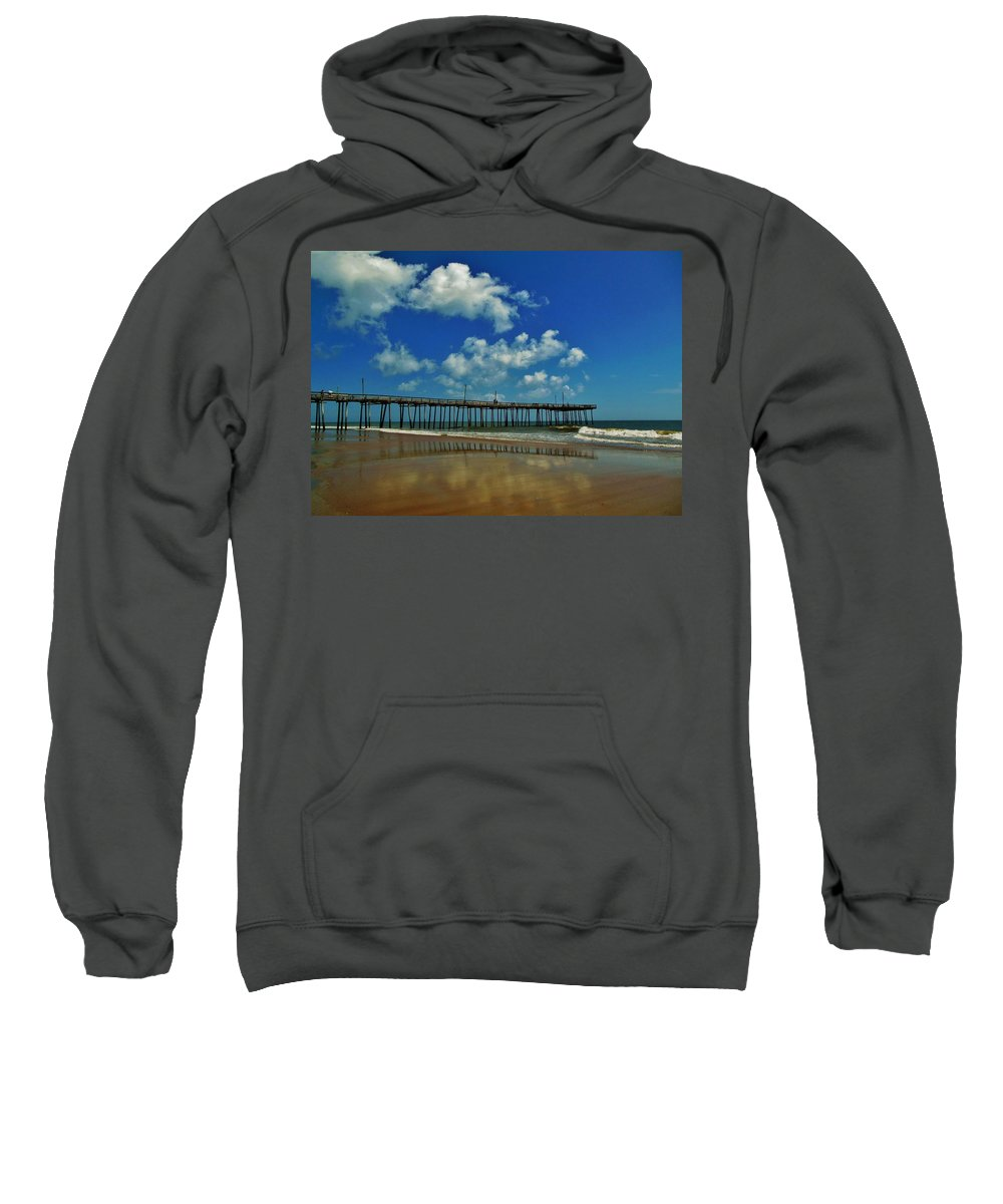 Mark Lemmon Cape Hatteras Nc The Outer Banks Photographer Subjects From Sunrise Sweatshirt featuring the photograph Outer Banks Pier South Nags Head 1 5/22 by Mark Lemmon