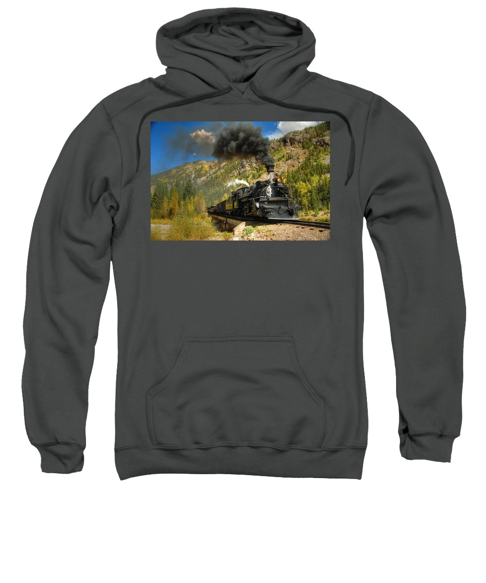 Steam Train Photographs Sweatshirt featuring the photograph Over The Animas River by Ken Smith