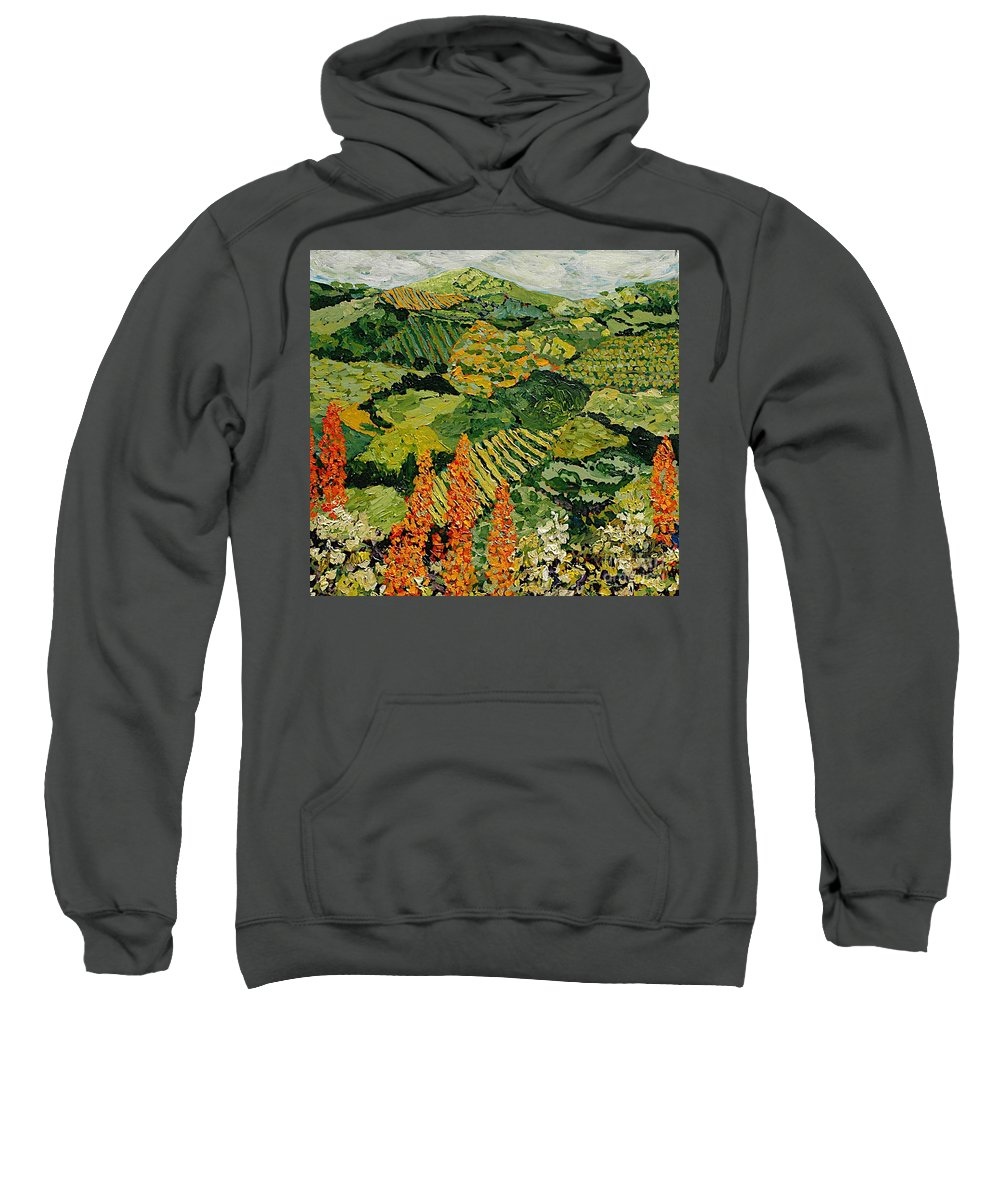 Landscape Sweatshirt featuring the painting Overgrown by Allan P Friedlander