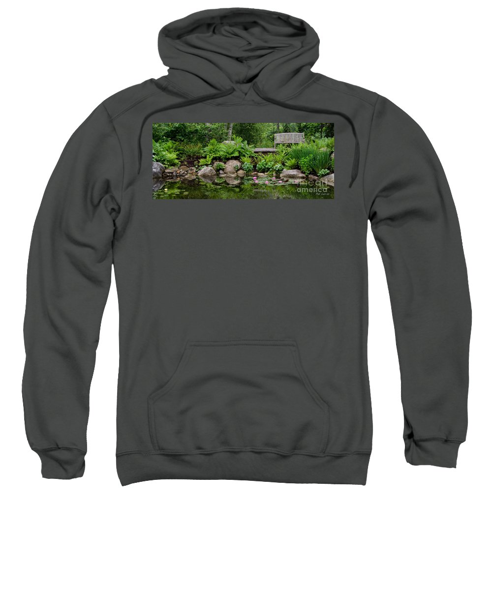 Bench Sweatshirt featuring the photograph Overlooking The Lily Pond by Pat Lucas