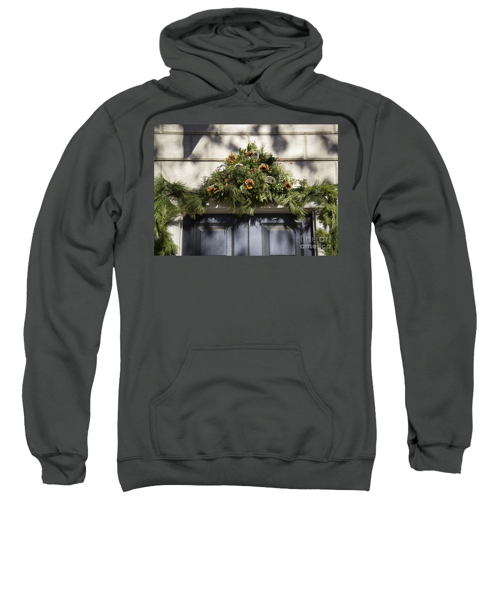 Colonial Sweatshirt featuring the photograph Oyster And Sunflower Swag by Teresa Mucha