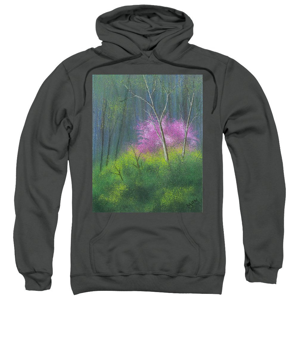 Ozarks Sweatshirt featuring the painting Ozark Redbud by Garry McMichael