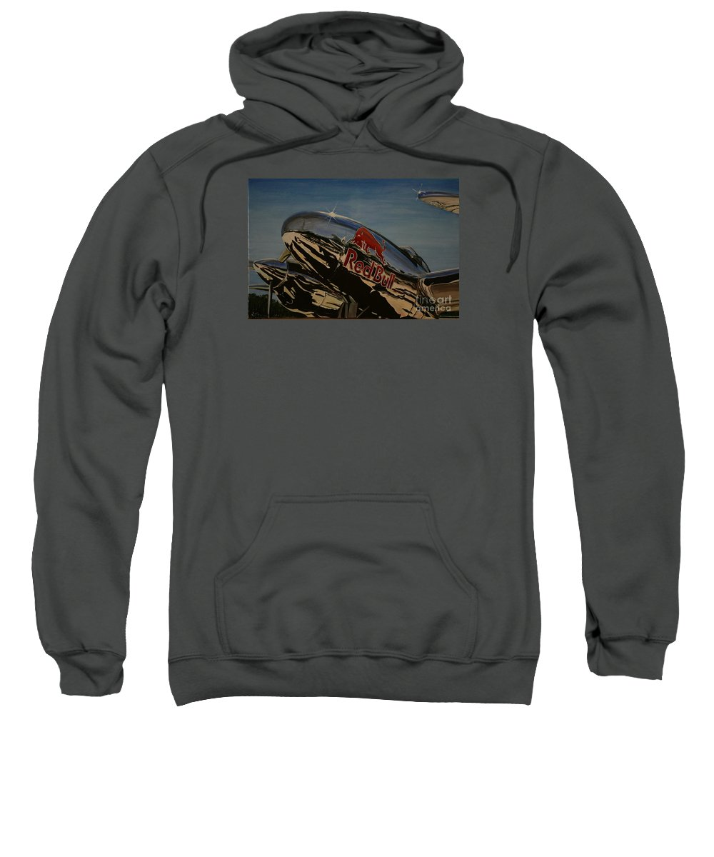 Warbirds Sweatshirt featuring the painting P38 Red Bull Lightning Warbird by Richard John Holden RA