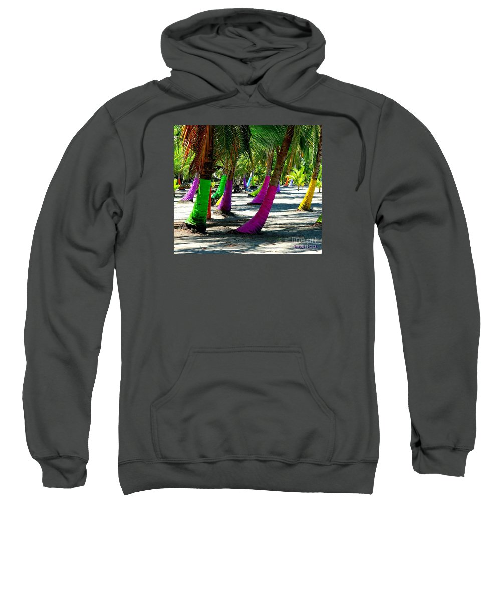 Palms Sweatshirt featuring the photograph Painted Palms by Sergio B