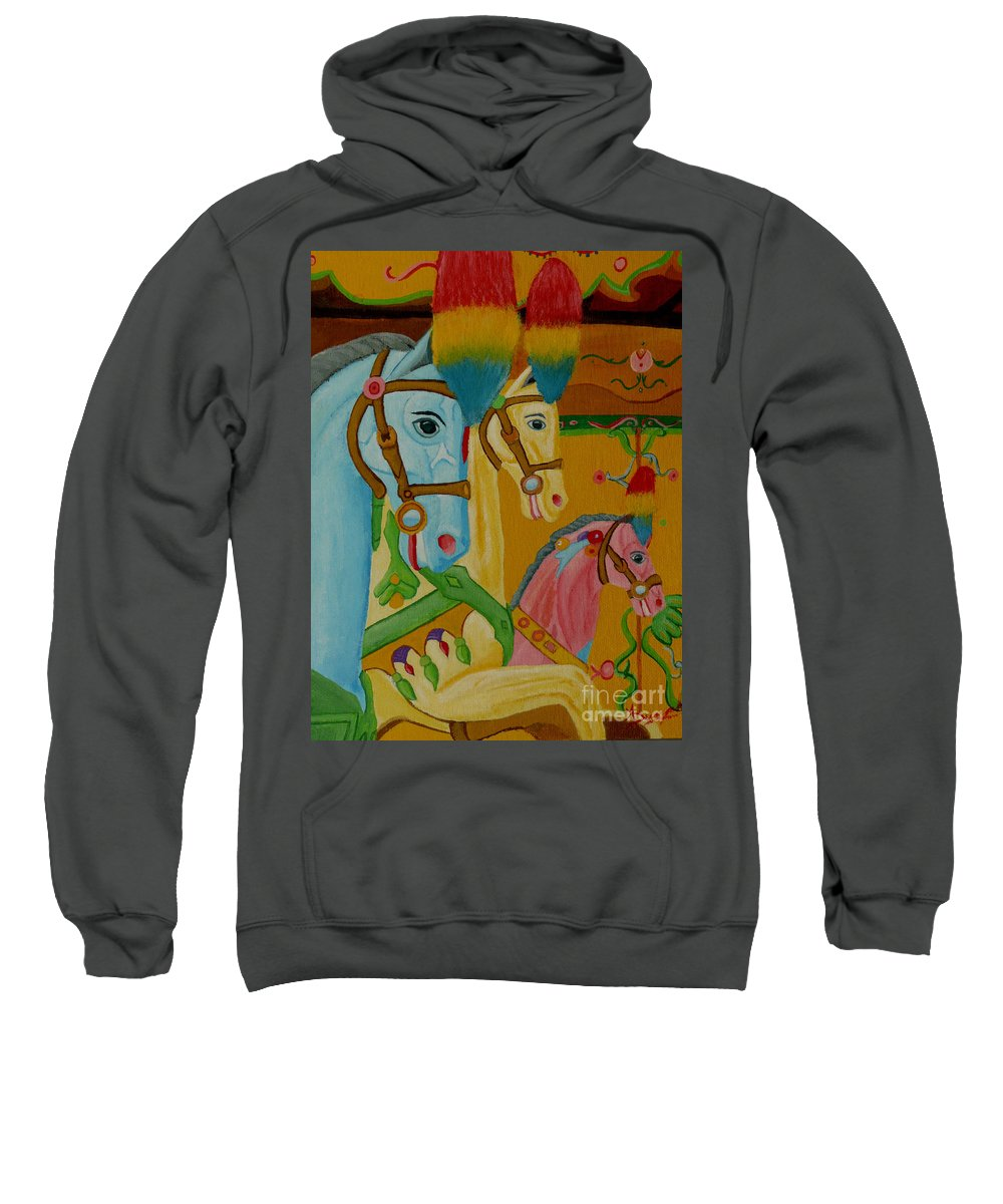 Carousel Sweatshirt featuring the painting Painted Ponies by Anthony Dunphy