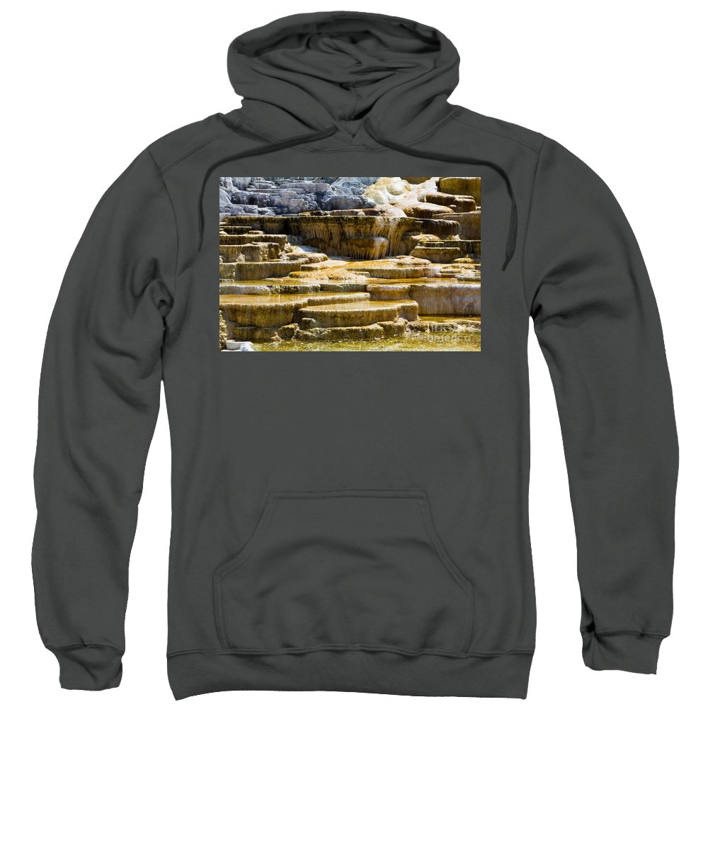 Hot Spring Terraces Sweatshirt featuring the photograph Palette Spring 2 Yellowstone National Park Wy by Dan Hartford