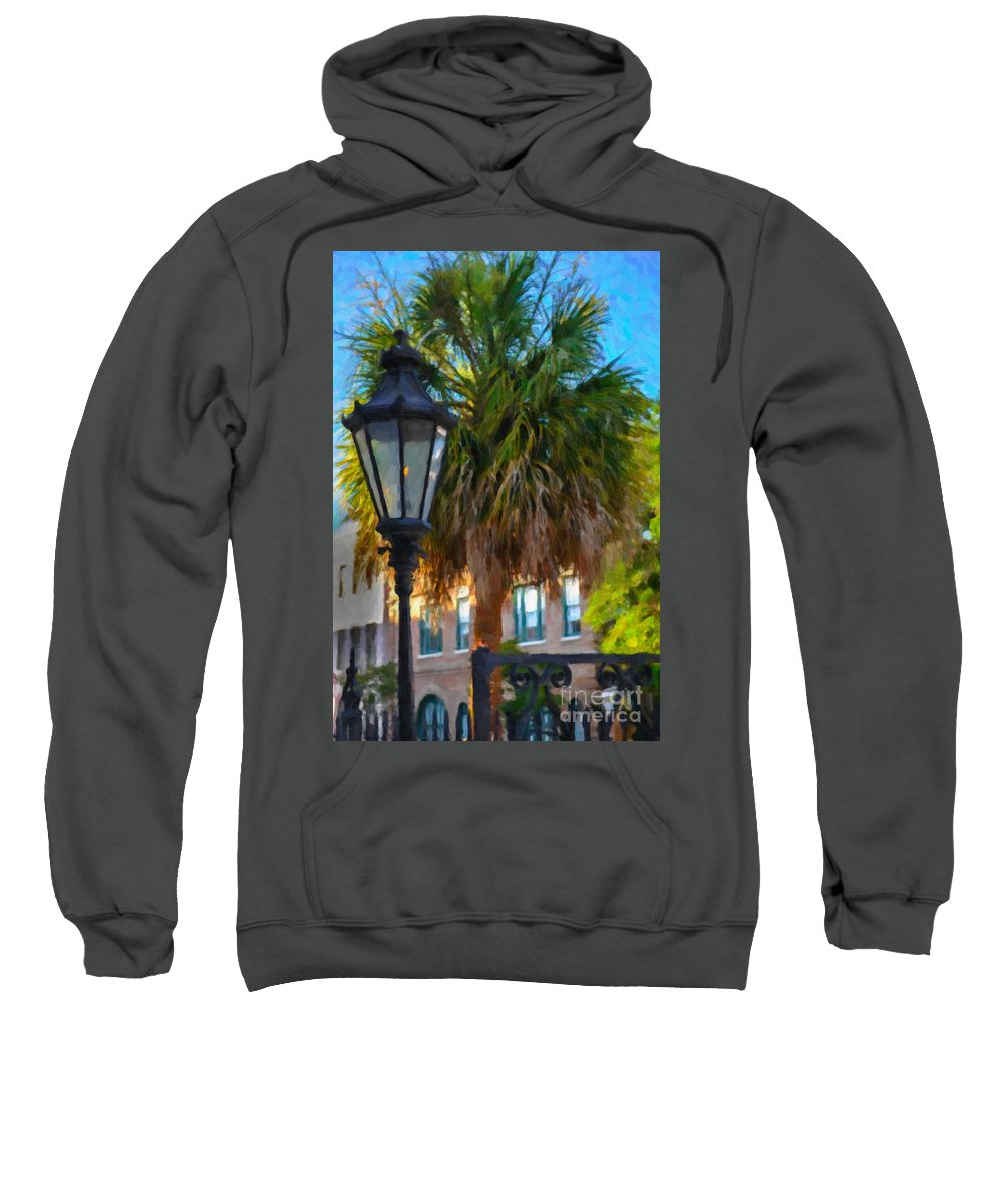 Palmetto Sweatshirt featuring the digital art Palmetto Gas Light by Dale Powell