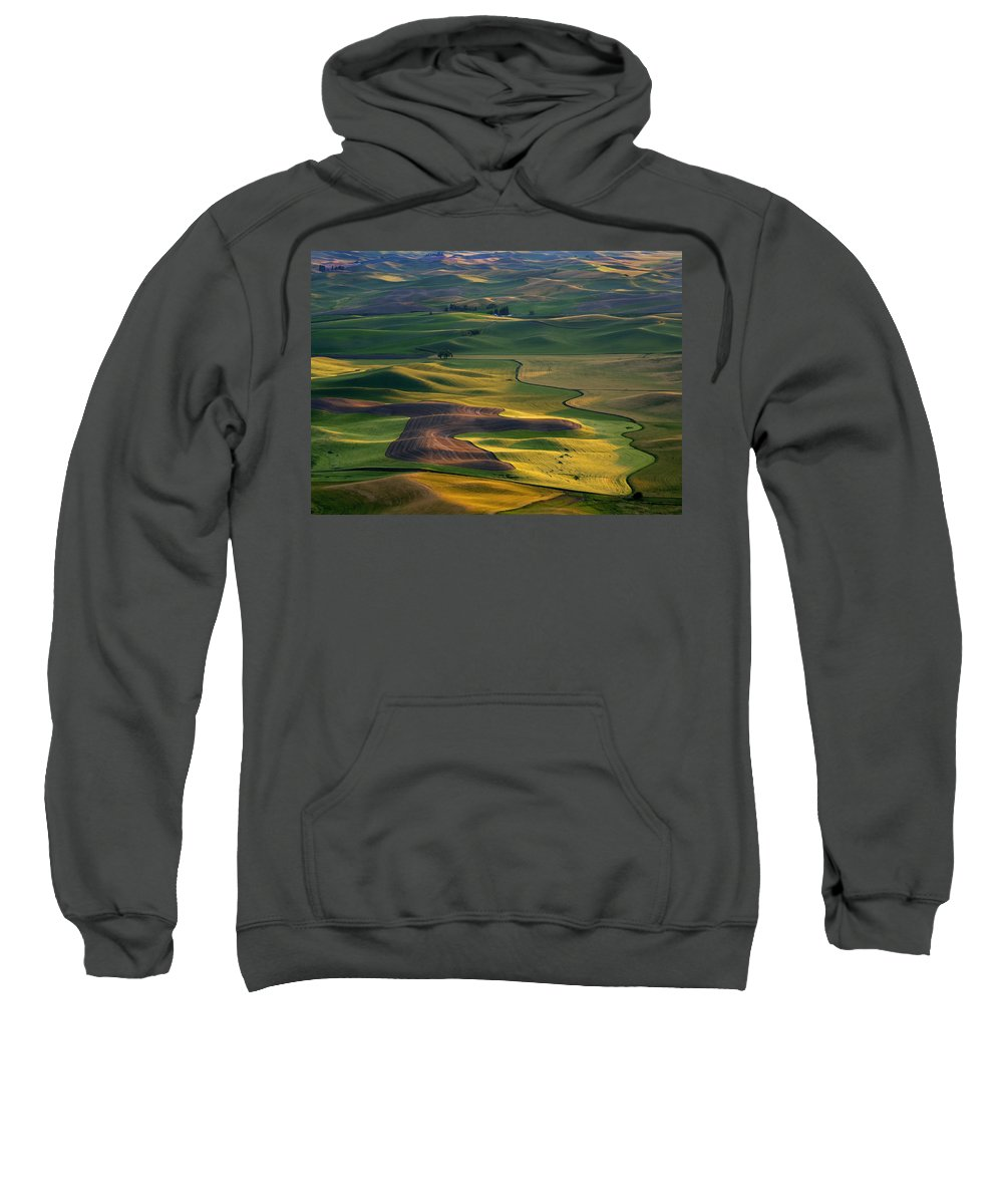 Palouse Sweatshirt featuring the photograph Palouse Shadows by Mike Dawson