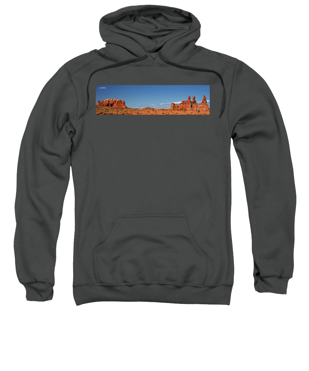 North America Sweatshirt featuring the photograph Panorama Hoodoos Goblin Valley State Park Utah by Dave Welling