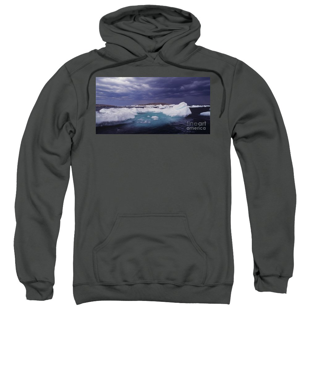 North America Sweatshirt featuring the photograph Panorama Ice Floes In A Stormy Sea Wager Bay Canada by Dave Welling