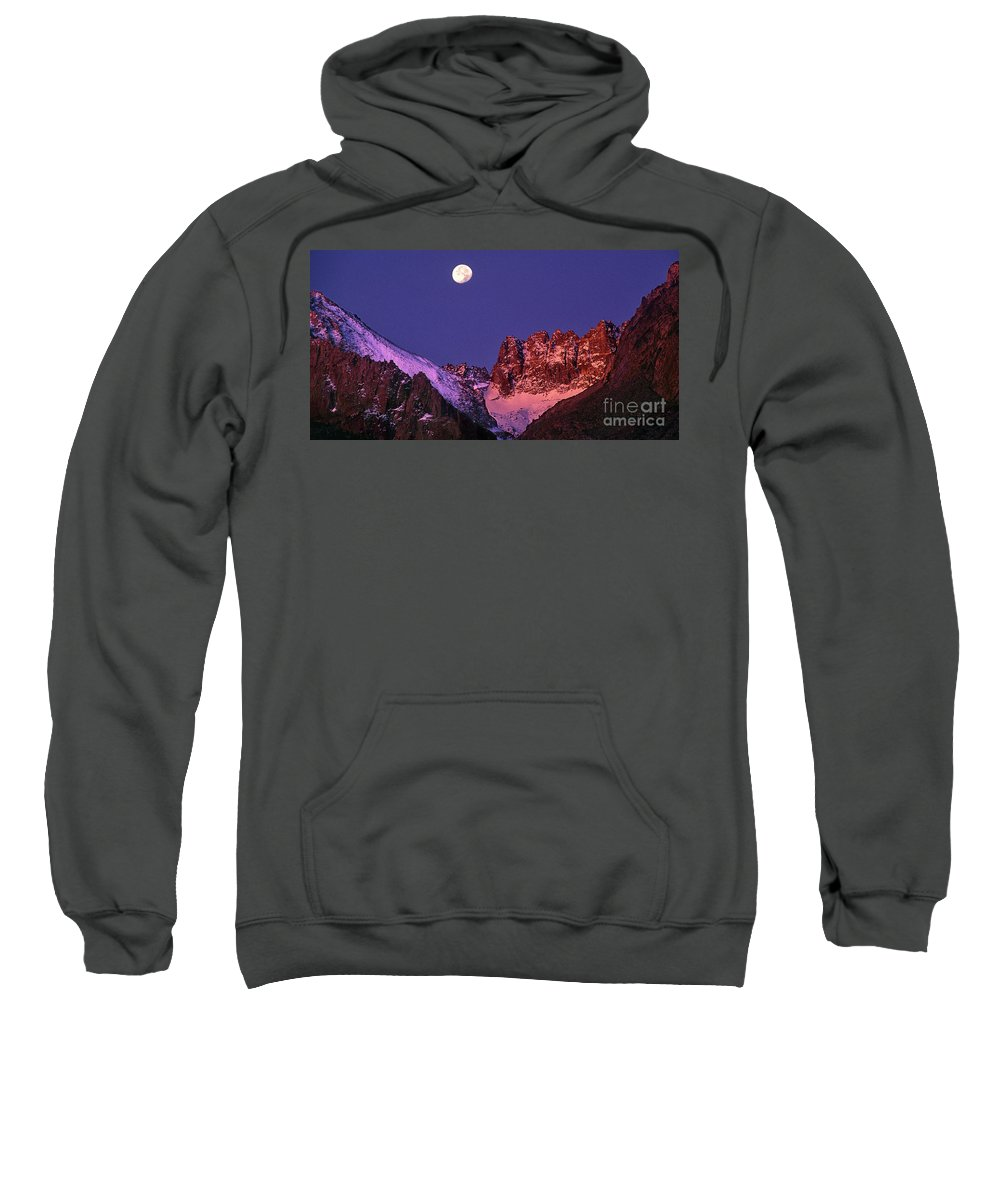 North America Sweatshirt featuring the photograph Panorama Moonset Middle Palisades Glacier Eastern Sierras California by Dave Welling