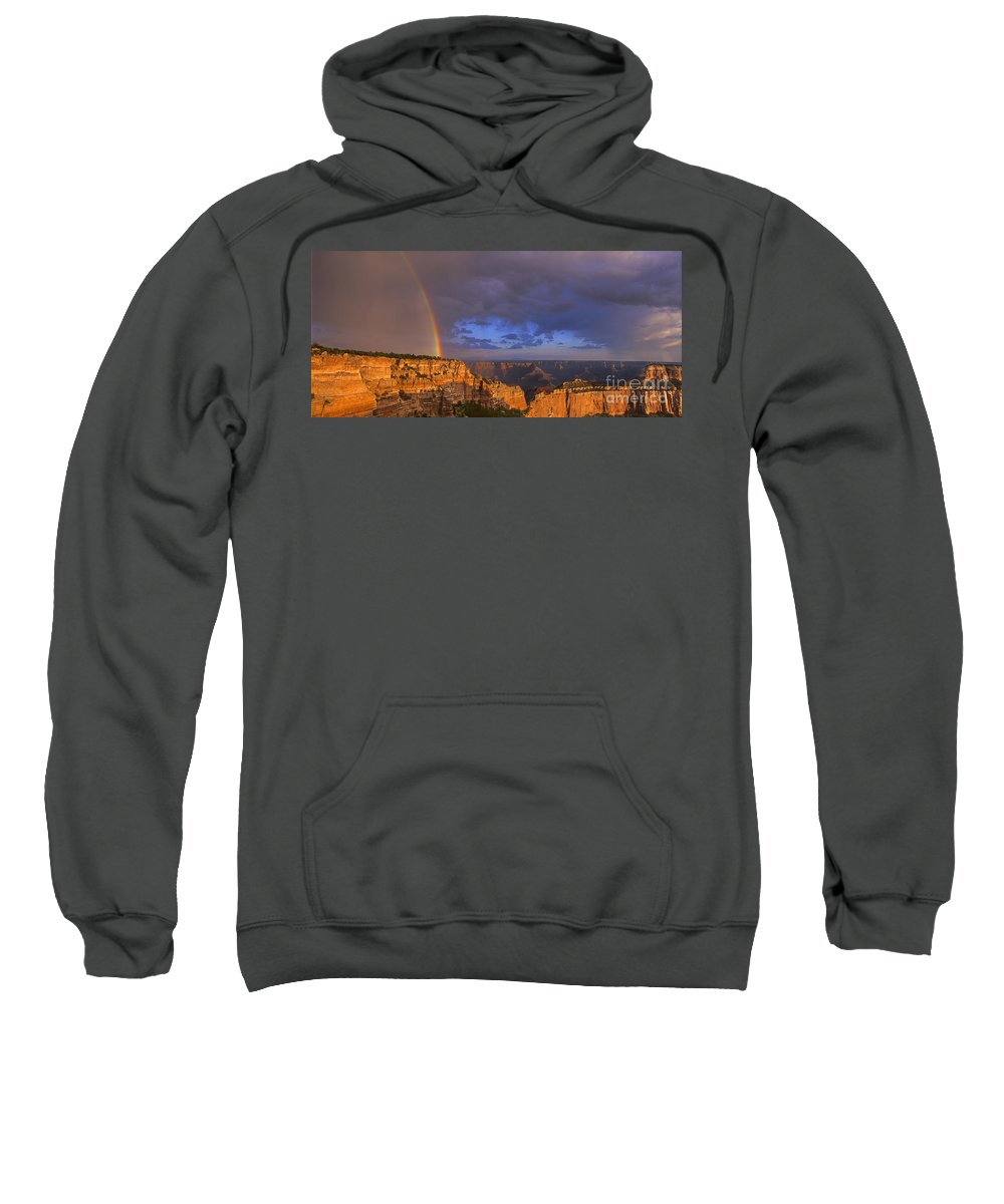 North America Sweatshirt featuring the photograph Panorama Rainbow Over Cape Royal North Rim Grand Canyon National Park by Dave Welling