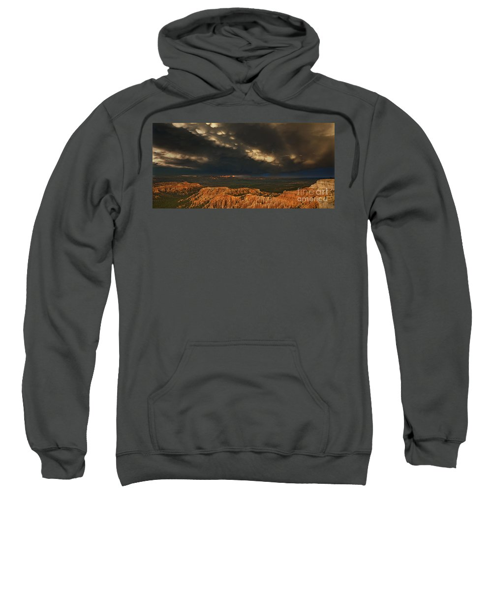 North America Sweatshirt featuring the photograph Panorama Storm Clouds Over Bryce Canyon National Park Utah by Dave Welling