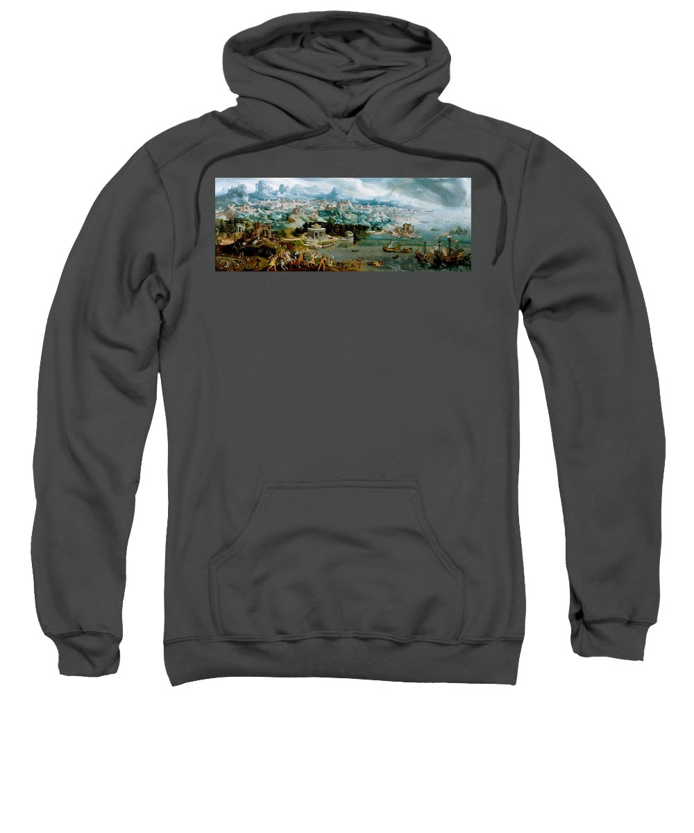 Maerten Van Heemskerck Sweatshirt featuring the painting Panorama With The Abduction Of Helen Amidst The Wonders Of The Ancient World by Maerten van Heemskerck